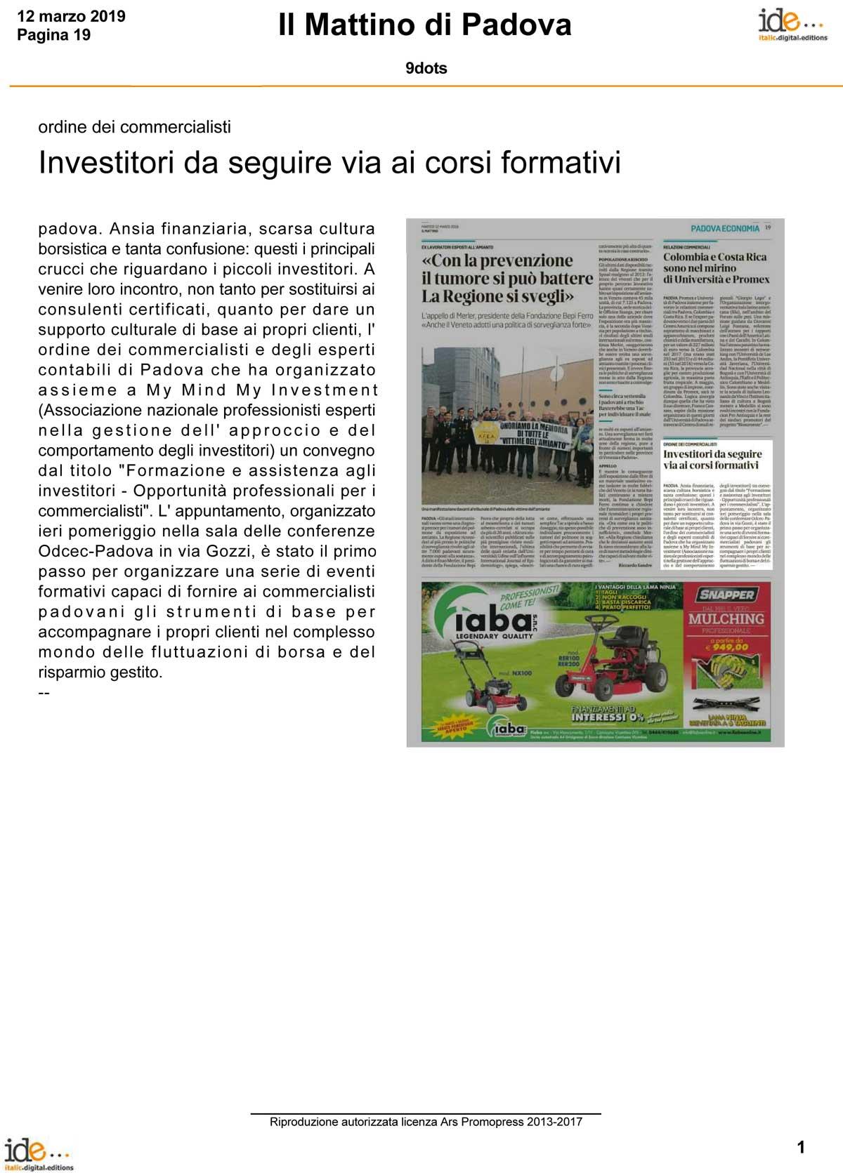 Convegno 9dots per l'ordine dei commercialisti di Padova