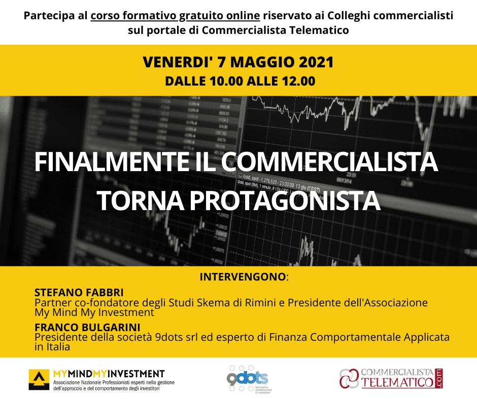 """07/07/2021 – Corso propedeutico online """"FINALMENTE IL COMMERCIALISTA TORNA PROTAGONISTA"""""""